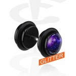 FUPL176G01_L-Piercings-Faux-Piercings-Glitter-faux-plug-noir-Acrylique