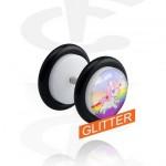 FUPLW180G01-R_L-Piercings-Faux-Piercings-Glitter-faux-plug-blanc-Acrylique