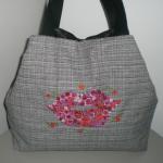 Grand sac hyper moderne avec motif brodé bouche en fleurs _ Sacs à main