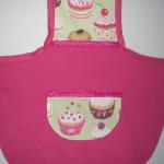 Tablier de cuisine enfant taille 6_8 ans en coton imprimé dominante fuchsia