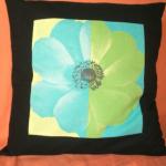 housse de coussin de 50cm x 50cm avec motif _fleur_ vert et bleu