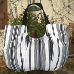 sac rayé en lin blanc et noir ultra léger _ Sacs à main par creation-sylvie-jamm