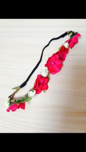 bandeau fleuri rouge