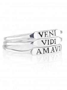 VENI VIDI AMAVI RING SET £30 TRANSLATES TO SHE CAME SHE SAW SHE LOVED